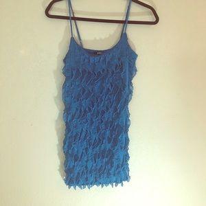 Poetry blue ruffled mini dress medium EUC